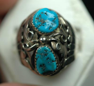 Image for Native American Old Pawn Sterling Silver Sleeping Beauty Turquoise size 11