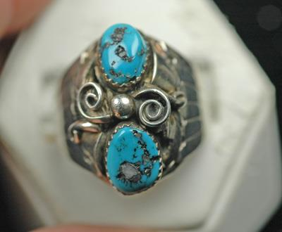 Image for Native American Old Pawn Sterling Silver Turquoise Ring size 11