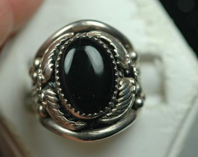 Image for Native American Old Pawn Sterling Silver Black Onyx Ring size 9