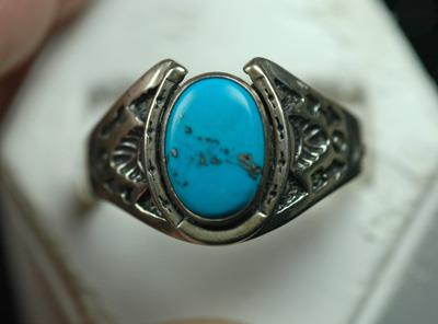 Image for Native American Old Pawn Sterling Silver Turquoise Ring size 16