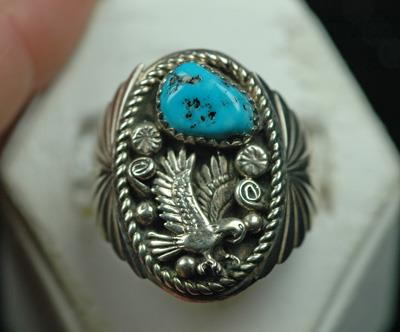 Image for Native American Old Pawn Sterling Silver Turquoise Ring size 11 3/4