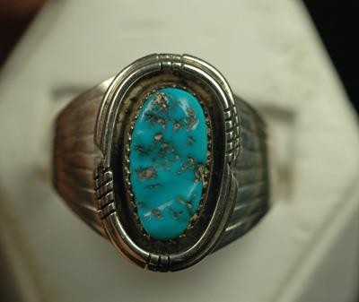 Image for Native American Old Pawn Sterling Silver Turquoise Ring size 13.5
