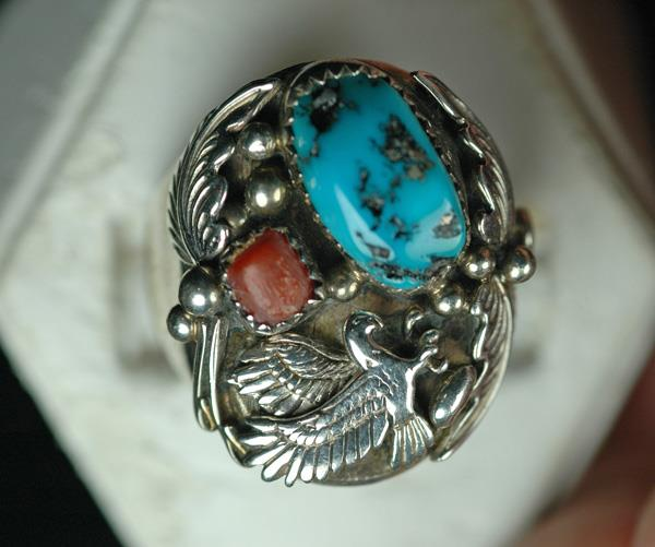 Image for Native American Old Pawn Sterling Silver Ring size 12