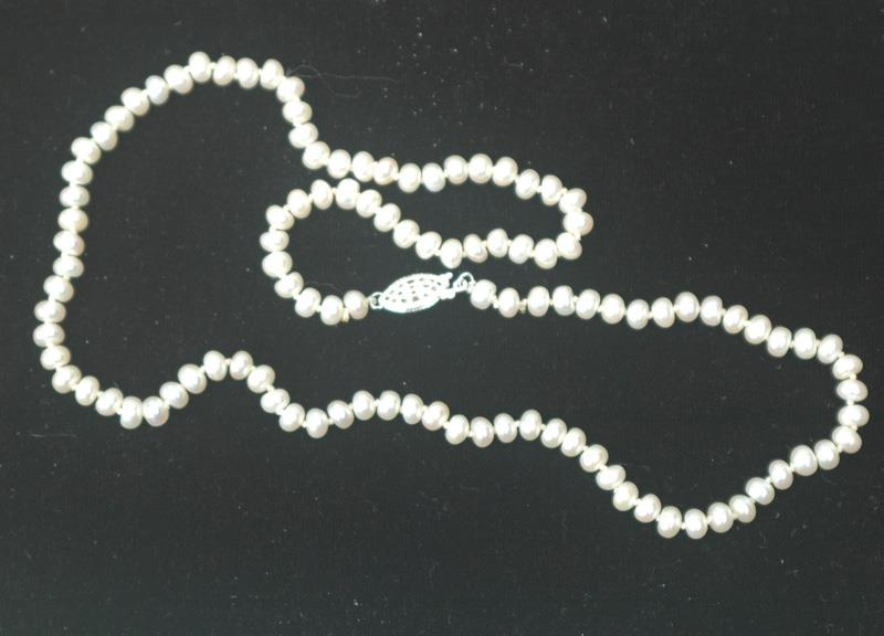 Image for 5mm Potato or Rondell Fresh water pearls with Sterling clasp