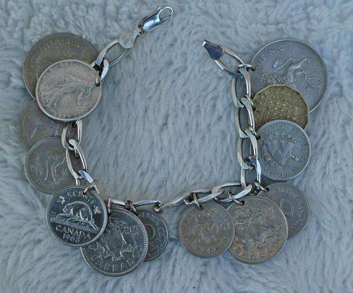 Image for Antique Coin Travel Charm Bracelet Sterling silver 8 inch