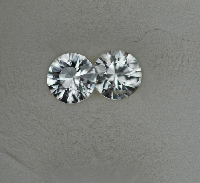 Image for Cambodia Natural White Zircon pair 2.07 tcw
