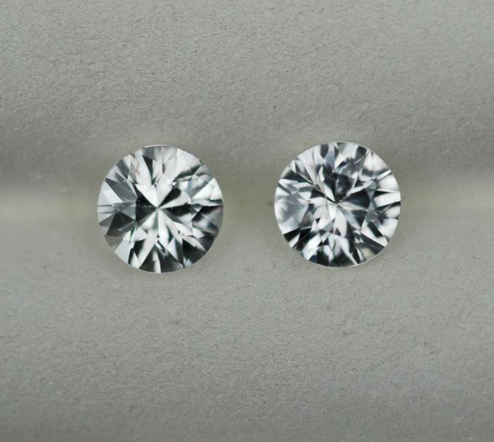 Image for Cambodia natural White Zircon Pair 2.29 tcw