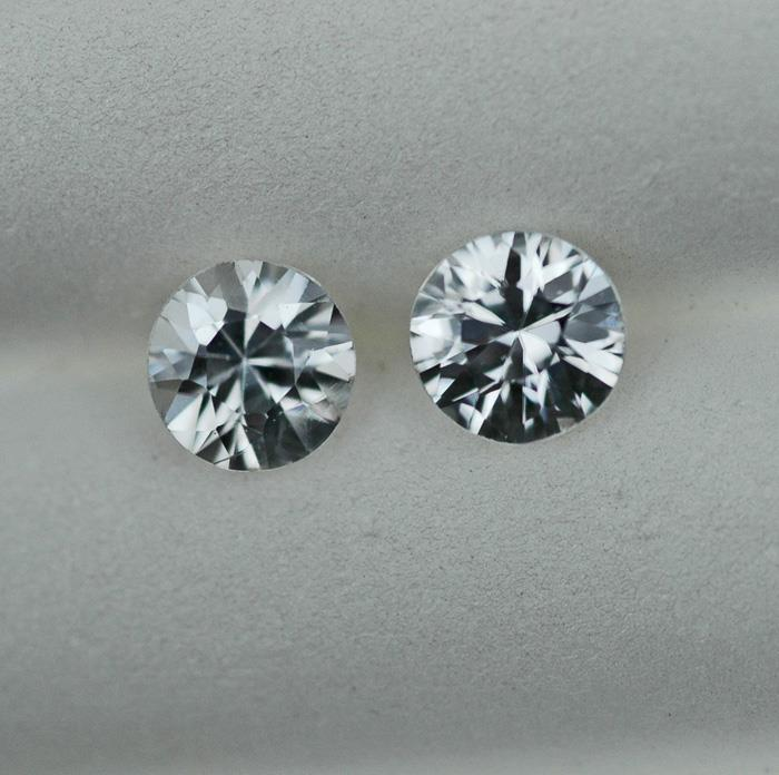 Image for Natural Cambodia White Zircon Pair 2.63 tcw