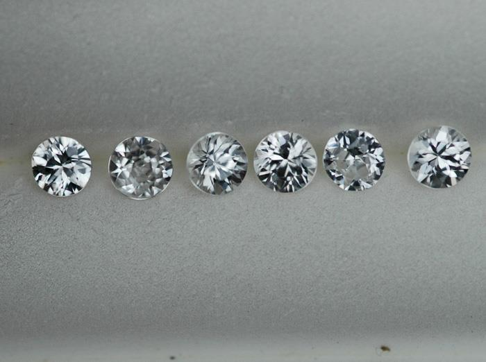 Image for Cambodia Natural White Zircon 4mm lot 2.42 tcw