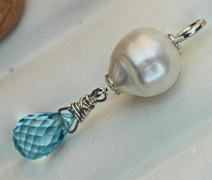 Image for Pearl and Topaz pendant