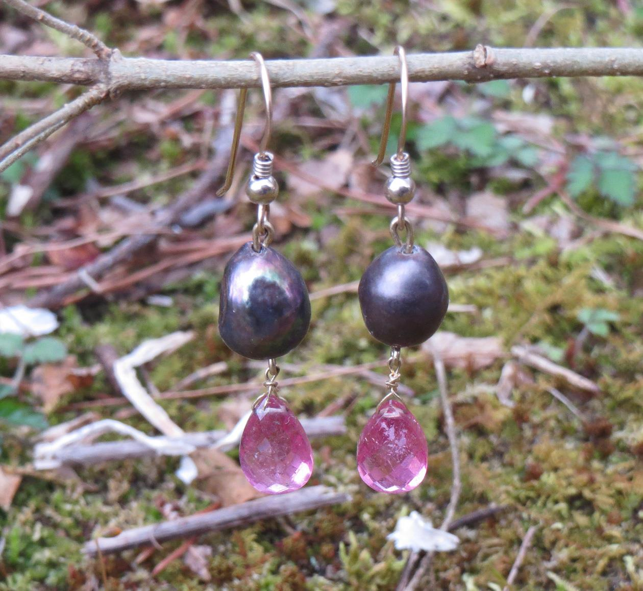Image for Black Pearl and Pink Tourmaline 14K gold earrings