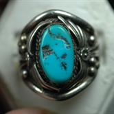 Image for Native American Old Pawn Sterling Silver Turquoise Ring size 11.5