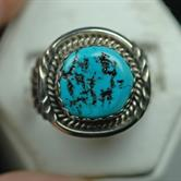 Image for Native American Old Pawn Sterling Silver Turquoise Ring size 12