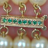 Image for Triple Strand gold fresh water pearls 14k gold and emerald clasp