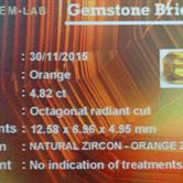 Image for Sri Lanka Natural Orange Zircon 4.82 carat
