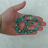 Image for Natural Undyded Turquoise and Silver Necklace